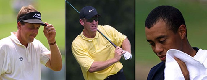 左から)P.ミケルソン、D.デュバル、T.ウッズ 2001年 全米プロゴルフ選手権 2日目