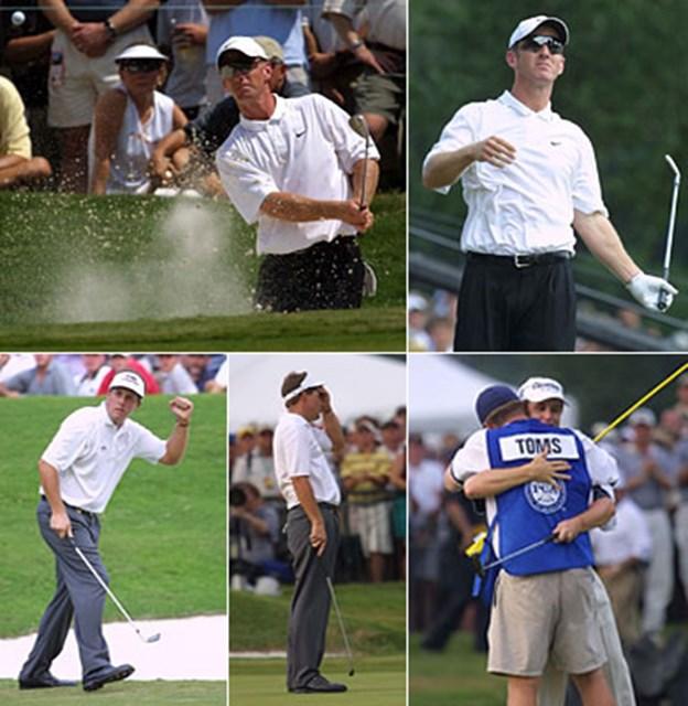 2001年 全米プロゴルフ選手権 最終日 メジャー連勝を狙ったD.デュバルは最終日74と崩れ、P.ミケルソンはトムズを捕らえたと思ったのだが・・・。トムズは最終ホールでパーセーブし優勝を決めた。