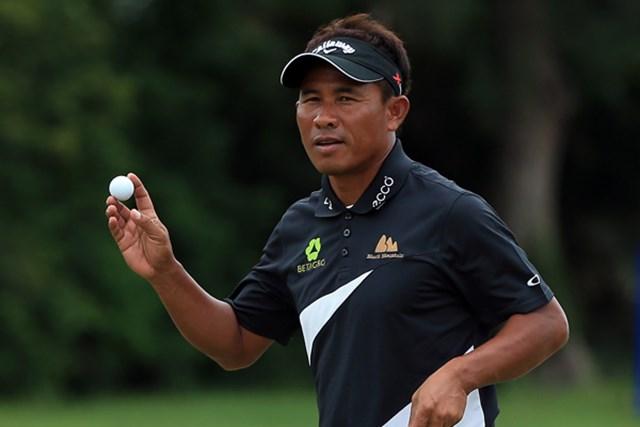2013年 ボルボゴルフチャンピオンズ 初日 トンチャイ・ジェイディ アジアを代表するプレーヤーが地元南アのタレントを抑えてロケットスタートに成功した。(Richard Heathcote/Getty Images)
