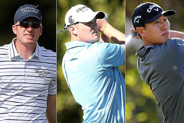 2013年 ヒュマナチャレンジ クリントンファウンデーション 初日 (左から)ロベルト・カストロ、ジェイソン・コクラック、ジェームス・ハーン 首位タイの好スタートを切った (左から)R.カストロ、J.コクラック、J.ハーンの若手トリオ(Getty Images、PGA TOUR)