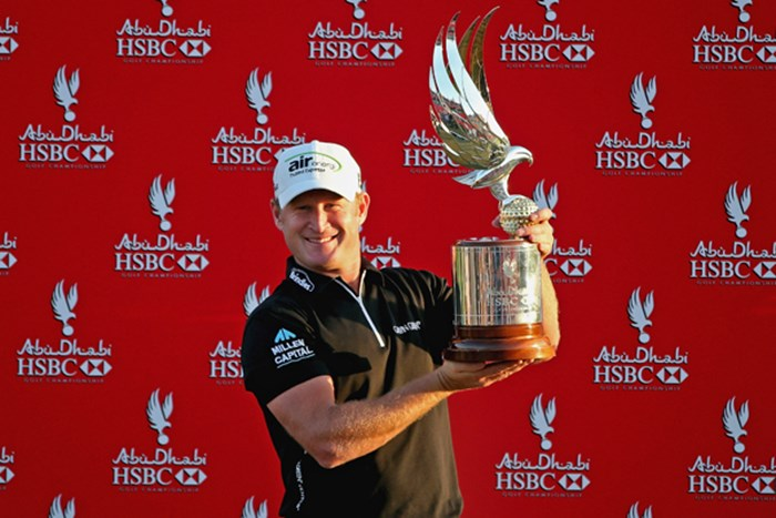 2打差を逆転し、今季初勝利を手にしたJ.ドナルドソン(Andrew Redington /Getty Images) 2013年 アブダビHSBCゴルフ選手権 最終日 ジェイミー・ドナルドソン