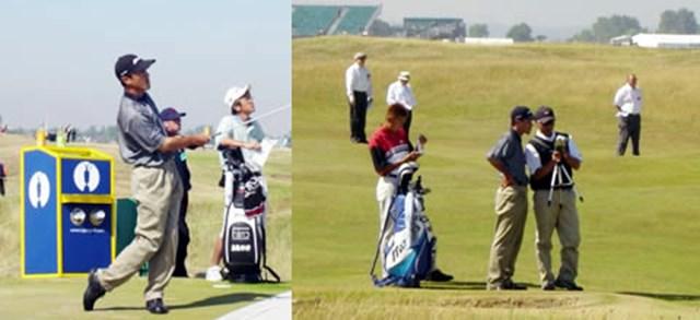 2003年 全英オープン 練習日1 佐藤信人 左)「一人全英オープン」中の佐藤 右)ラウンド中にもスイングチェックを