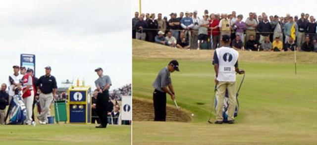 2003年 全英オープン 2日目 佐藤信人 左)8番までは好ラウンドが続いたが・・ 右)極端に短くクラブを持ちアプローチ