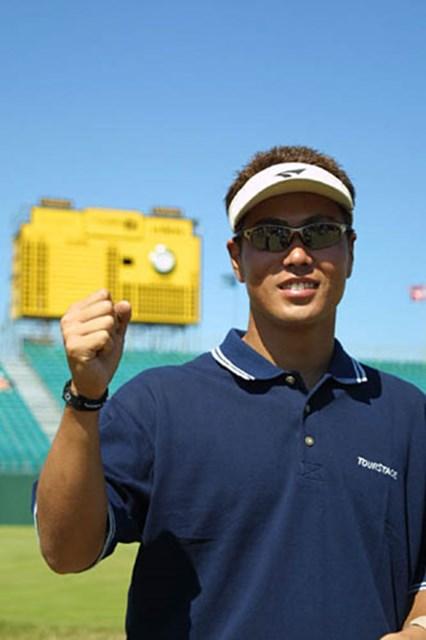 2003年 全英オープン 練習日 谷原秀人 「ラフも風も特別気にしてはいません。出たとこ勝負です」という全英初出場の谷原(写真/BEYONDSHIP)