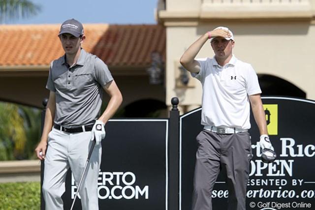 2013年 プエルトリコオープン 2日目 パトリック・カントレー(左) パトリック・カントレー(左)は、予選ラウンドをルーク・ガスリーと、昨年12月にプロ転向したばかりの19歳、ジョーダン・スピース(右)と共に回った。