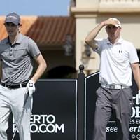 パトリック・カントレー(左)は、予選ラウンドをルーク・ガスリーと、昨年12月にプロ転向したばかりの19歳、ジョーダン・スピース(右)と共に回った。 2013年 プエルトリコオープン 2日目 パトリック・カントレー(左)