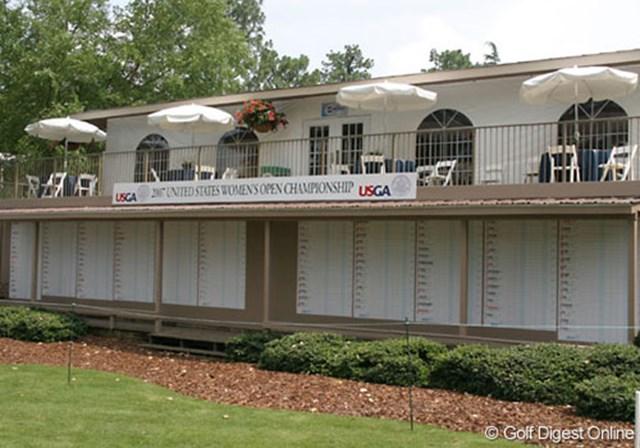 2007年 全米女子オープン 事前情報 スコアボード クラブハウス脇には、明日を迎える初日に向けて既にスコアボードが貼り出されている