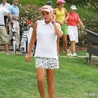 12歳のトンプソンは、スタート後1ホールでサスペンデッド。明日に向け、少しでもホールを消化したいところだ 2007年 全米女子オープン 初日 アレクシス・トンプソン