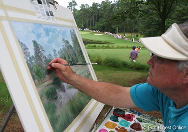 2007年 全米女子オープン 3日目 画家 会場内では画家がコース図を描いていた。高値で売れるのだろうか