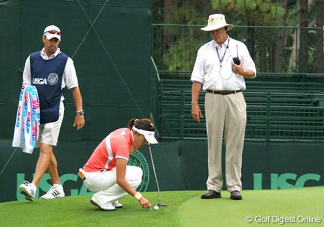2007年 全米女子オープン 3日目 大山志保 午前7時30分、17番の3打目から再スタートとなった大山志保
