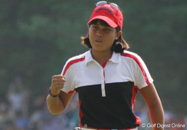 2007年 全米女子オープン 最終日 フリエタ・グラナダ 第3ラウンドの18番をバーディで締め括り、力強いガッツポーズを見せたフリエタ・グラナダ