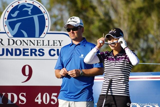 2013年 RRドネリー LPGA ファウンダーズカップ 事前 宮里藍 怪我の具合が心配された宮里藍だったが、2週間の休養を経て今週から復帰。この日は練習ラウンドで元気な姿を見せた。