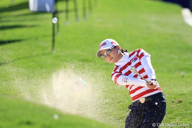 2013年 RRドネリー LPGA ファウンダーズカップ プロアマ日 上原彩子 上原彩子はまだ日が昇りきらない6時半前から練習ラウンドをスタートした