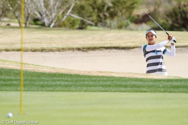 2013年 RRドネリー LPGA ファウンダーズカップ 2日目 宮里藍 今週は27ホール目でボギーを叩いたが、トラブルがあっても安定したショートゲームでパーを拾っている宮里藍