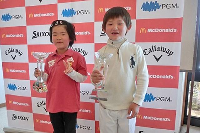世界ジュニア日本代表選抜大会、6歳以下男女決勝 世界ジュニア出場を決めた矢野(右)と山本