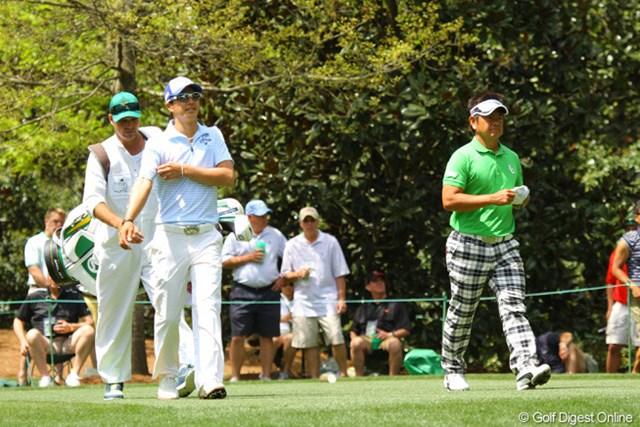 2013年 マスターズ 事前 石川遼&藤田寛之 開幕2日前の9日も練習ラウンドをともにした石川と藤田。