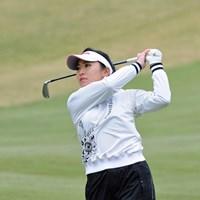 前半は白のミニスカートで我慢のゴルフが続いた宮田だったが、後半はボギーの山を築いてしまった 2013年 スタジオアリス女子オープン 初日 宮田志乃