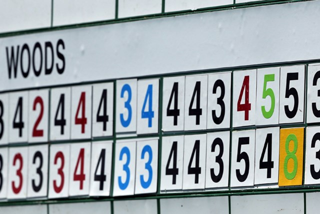 第3ラウンドスタート前。第2ラウンドのタイガーの15番は「6」から「8」へと変わった(Andrew Redington/Getty Images)