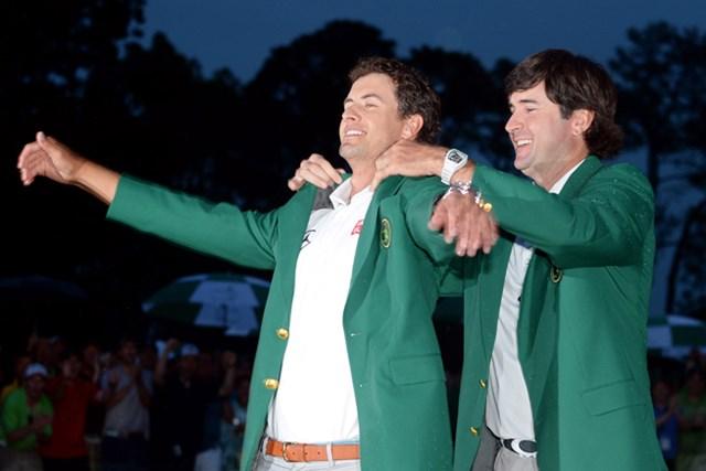 2013年 マスターズ 最終日 アダム・スコット 豪州勢として初めてグリーンジャケットに袖を通したA.スコット。母国の期待に応える歴史的瞬間を迎えた(Harry How/Getty Images)