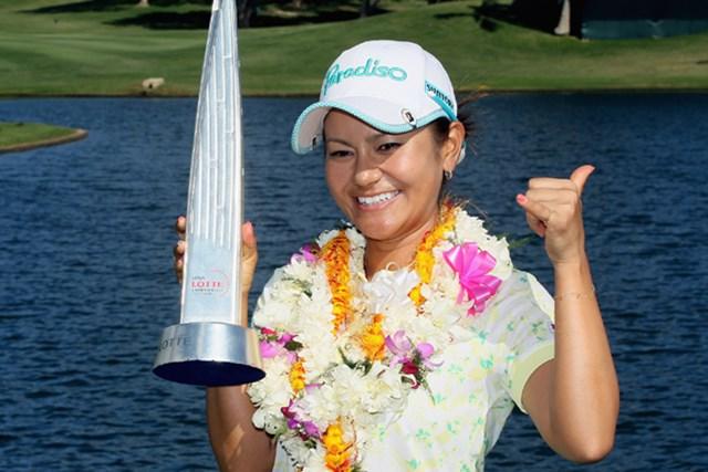 昨年の新規大会で初代優勝者に輝いた宮里藍。ハワイの地で大会連覇に挑む(Jeff Gross/Getty Images)