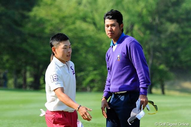 大学の先輩、藤本佳則とラウンドした松山は、通算10アンダー、2位で決勝ラウンドへ。