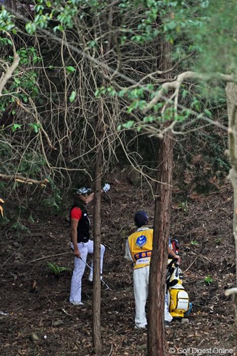セカンドを崖下に落とす絶体絶命のピンチやったけど、アッと驚く脱出ショットを放ってボギーで切り抜けてはりました。スゴス。 2013年 つるやオープンゴルフトーナメント 3日目 イ・テヒ