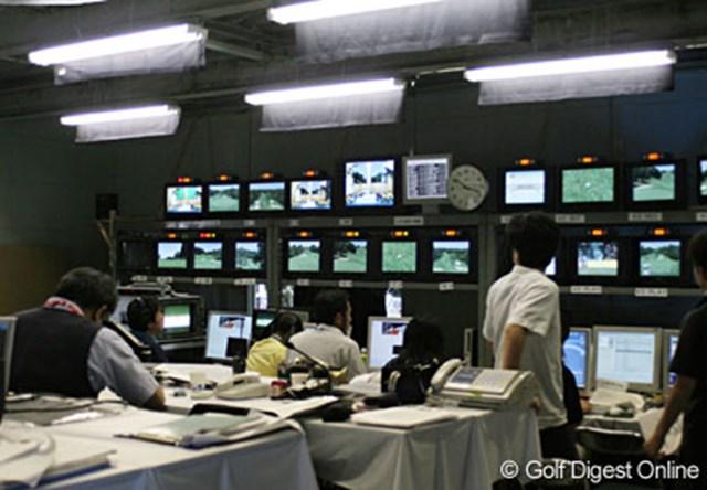 廣済堂レディスゴルフカップ テレビ東京の放送センター。ここから試合の模様が発信されるのだ
