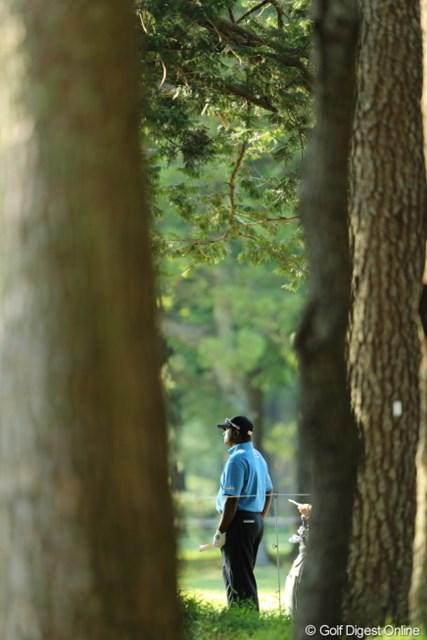 2013年 日本プロゴルフ選手権大会 日清カップヌードル杯 2日目 ディネッシュ・チャンド 隙間からでもチャント見えるチャンド。