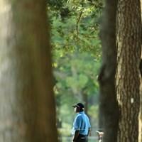 隙間からでもチャント見えるチャンド。 2013年 日本プロゴルフ選手権大会 日清カップヌードル杯 2日目 ディネッシュ・チャンド