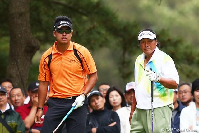 2013年 ダイヤモンドカップゴルフ 初日 松山英樹&尾崎将司 松山はジャンボ尾崎との初ラウンド。後半にスコアを戻し、出遅れを免れた。