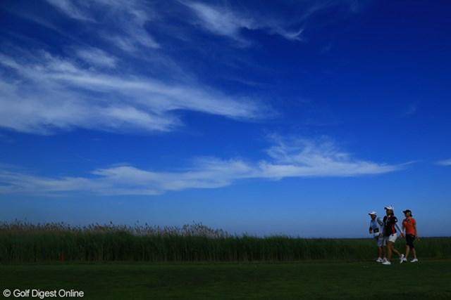 2013年 ショップライトLPGAクラシック 初日 宮里美香 風は少し強かったが、抜けるような青空に恵まれた初日
