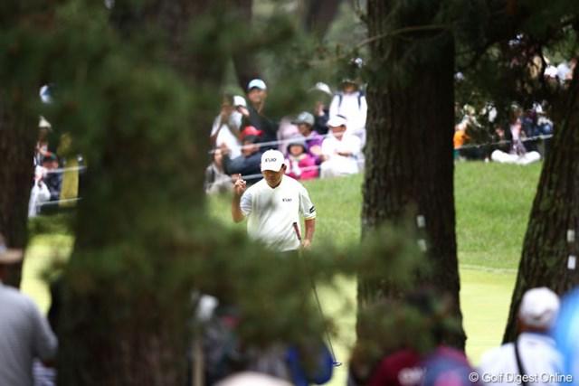 2013年 ダイヤモンドカップゴルフ 3日目 中嶋常幸 9番これで前半イーグル1、バーディ4の快進撃