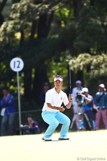 2013年 ダイヤモンドカップゴルフ 最終日 松山英樹 12番入れとばかりのポージング