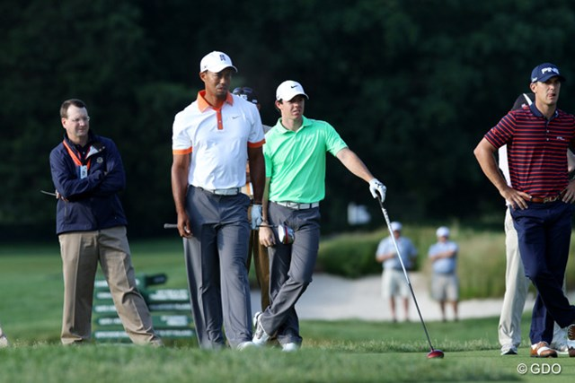 タイガー・ウッズ、ロリー・マキロイ、ビリー・ホーシェル 全米OP開幕前日に練習ラウンドを行ったタイガー。スロープレー撲滅というゴルフ界全体が抱える問題にもアプローチしていく。