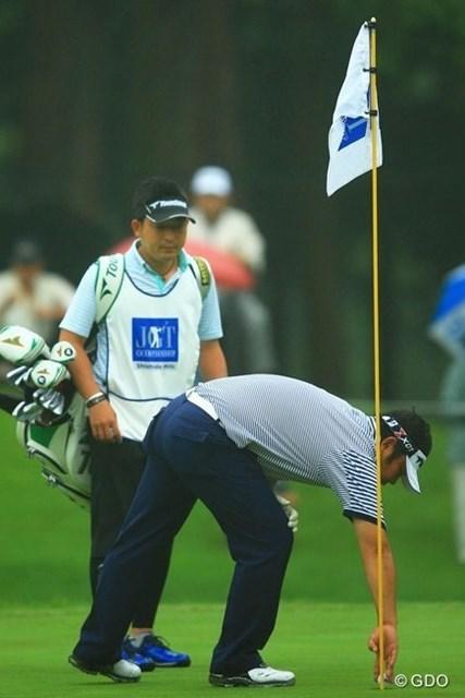 2013年 日本ゴルフツアー選手権 Shishido Hills 初日 小田龍一 12番で2ndショットがカップインでイーグル!と思ったら、どうやらOBを打ってしまっていたようで、ナイスパーでした。