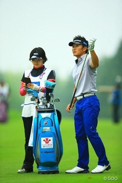 2013年 日本ゴルフツアー選手権 Shishido Hills 初日 宮本勝昌 最後の勝利は、ここ宍戸での優勝です。復活優勝を同じ宍戸で決めて欲しいですね。3アンダー11位タイスタート。