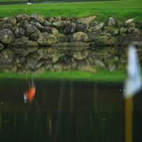 17番は非常に難しいホールです。池の手前にあるドロップゾーンから打つ選手は、一体何人にいるんだろう?池の中には何個のボールが沈んでいるんだろう?と、ふと思いました。 2013年 日本ゴルフツアー選手権 Shishido Hills 3日目 キム・ドフン