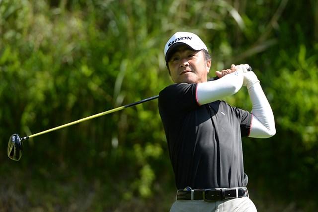 2013年 ISPS・HANDA CUP・フィランスロピーシニアトーナメント 初日 中川敏明 7バーディ、ノーボギーの「64」をマーク! 単独首位スタートを切った中川敏明(画像提供:日本プロゴルフ協会)