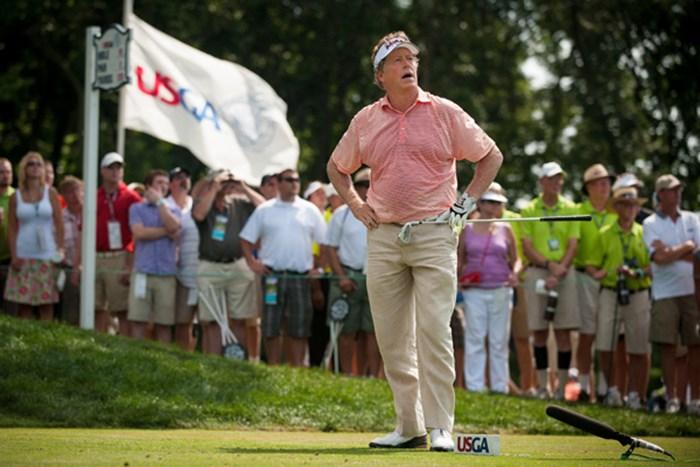 "M.アレンはスコアは落としたものの、2日目の""貯金""が効いて首位を守った。(Eric Francis/Getty Images) 2013年 全米シニアオープン 3日目 マイケル・アレン"