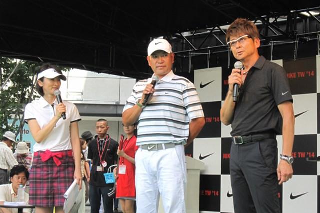 安藤幸代(左)、鶴見功樹(中)、哀川翔(右)がナイキシューズTW'14のイベントに参加