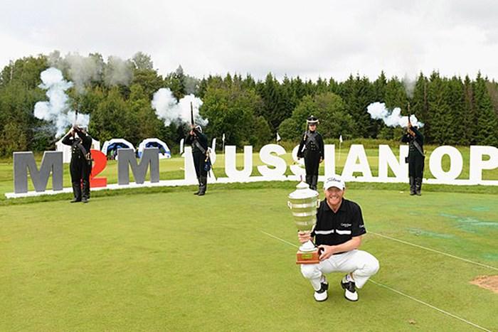 ロシアの地で、自身5つ目のタイトル獲得を果たしたM.ホーイ (Getty Images) 2013年 M2Mロシアンマスターズ 最終日 マイケル・ホーイ
