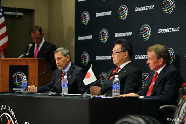 2013年 WGCブリヂストンインビテーショナル 最終日 会見 最終日の会見でタイトルスポンサー継続の発表が行われた。