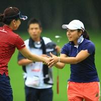 今季4試合目となる今週、4アンダー2位タイと好スタートです。 2013年 meijiカップ 初日 中園美香
