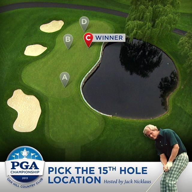 PGA Championship Pick the Hole Location Challenge Hosted by Jack Nicklaus オークヒルCCの15番ホール。最終日はファン投票により「C」の位置にカップが切られる。(画像:PGA of America)