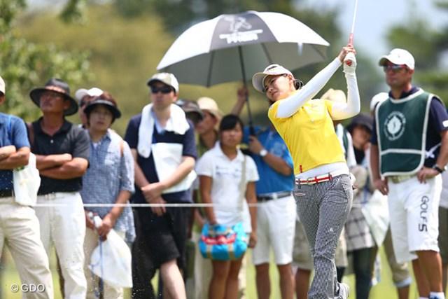 2013年 NEC軽井沢72ゴルフトーナメント 初日 横峯さくら 上がり2ホール連続ボギーが悔やまれる。初日1オーバーの横峯さくら