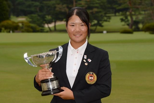 2013年 日本ジュニアゴルフ選手権 12歳~14歳の部 女子 松原由美 12歳~14歳の部で、初の大会連覇を成し遂げた松原由美(提供:日本ゴルフ協会)