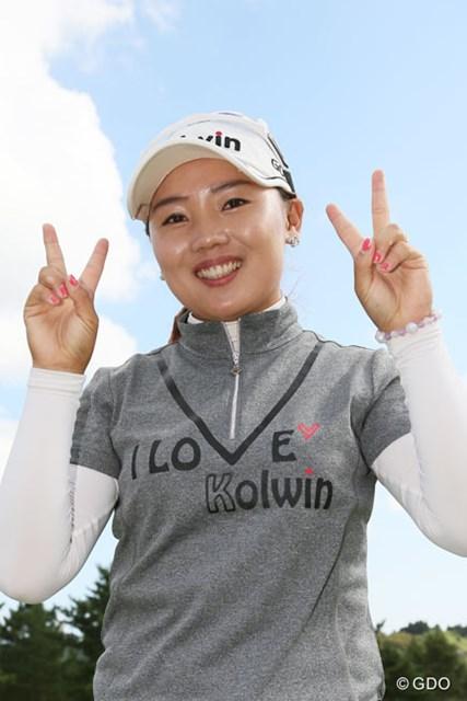 2013年 ミヤギテレビ杯ダンロップ女子オープンゴルフトーナメント 最終日 イ・ナリ 初優勝を決めVサイン