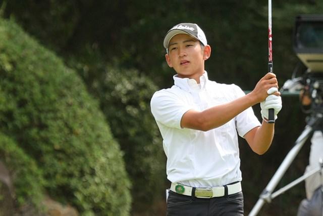2013年 コカ・コーラ東海 初日 岡崎錬 イーグルあり、ダブルボギーありと、あどけない顔に似合わず激しいゴルフで首位と3打差につけた