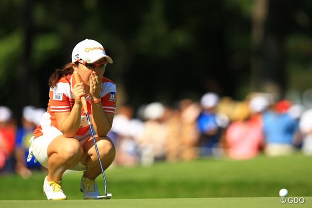 2013年 日本女子オープンゴルフ選手権競技 最終日 宮里美香 これが5打差のプレッシャーだったのでしょうか?前半はいつもの美香ちゃんとは別人で、ショットも乱れ、パットも乱れていました。