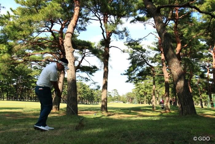 低くてかるいフックをかけてグリーン手前まで。 2013年 日本オープンゴルフ選手権競技 2日目 薗田峻輔